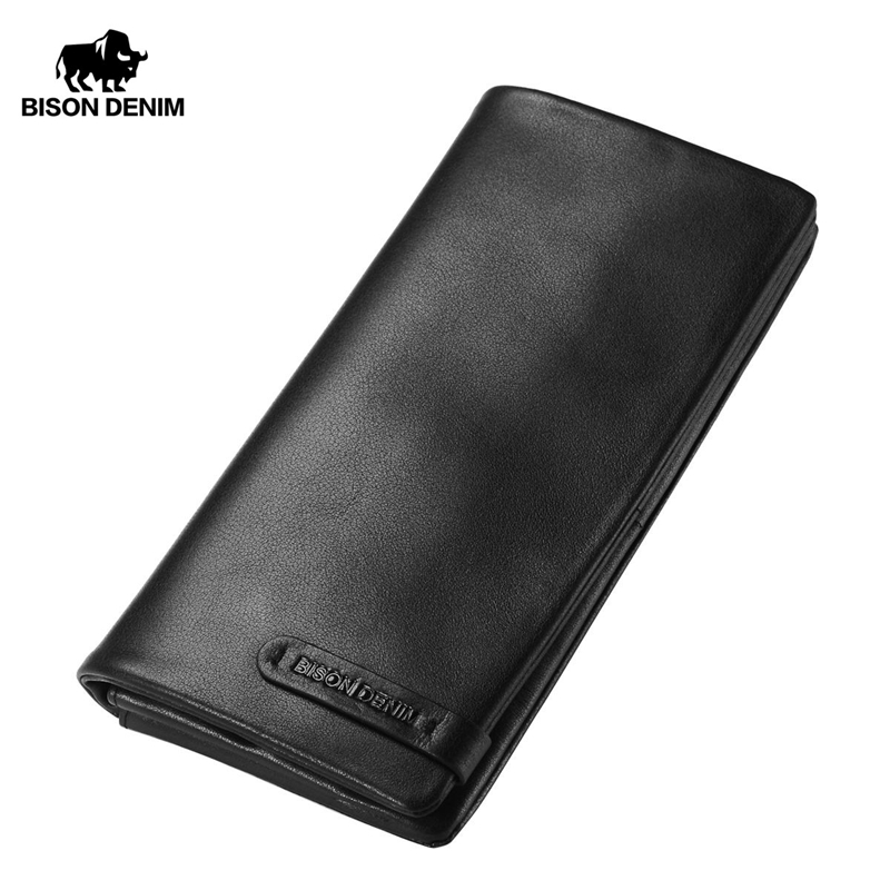 BISON DENIM Men's Purse Cowhide Genuine Leather Long Wallet Slim Black Clutch Male Wallets ID Card Holder Thin Purse N4329-1