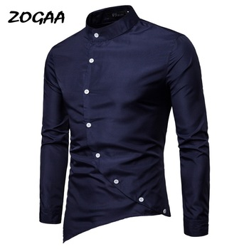 ZOGAA new men's casual diagonal placket personality irregular asymmetric small stand collar long sleeve shirt  white shirt asymmetric long sleeve top