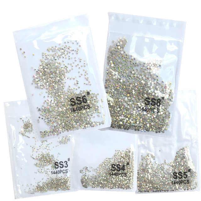 Топ Gillter SS3-SS8 1440 шт Кристалл AB Золото 3D не горячая фиксация FlatBack страз шитье и ткань одежды горный хрусталь Дизайн ногтей камень