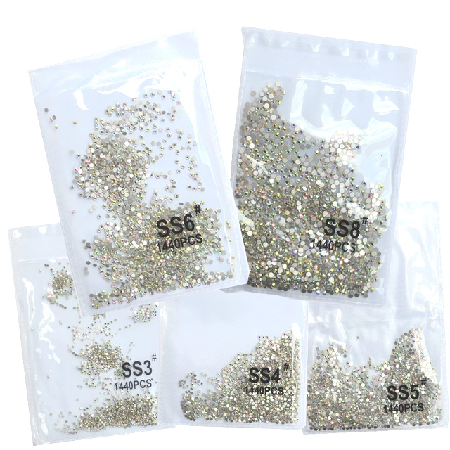 Superior gillter SS3-SS8 1440 pçs cristal ab ouro 3d não quente fix flatback strass costura & tecido vestuário strass arte do prego pedra