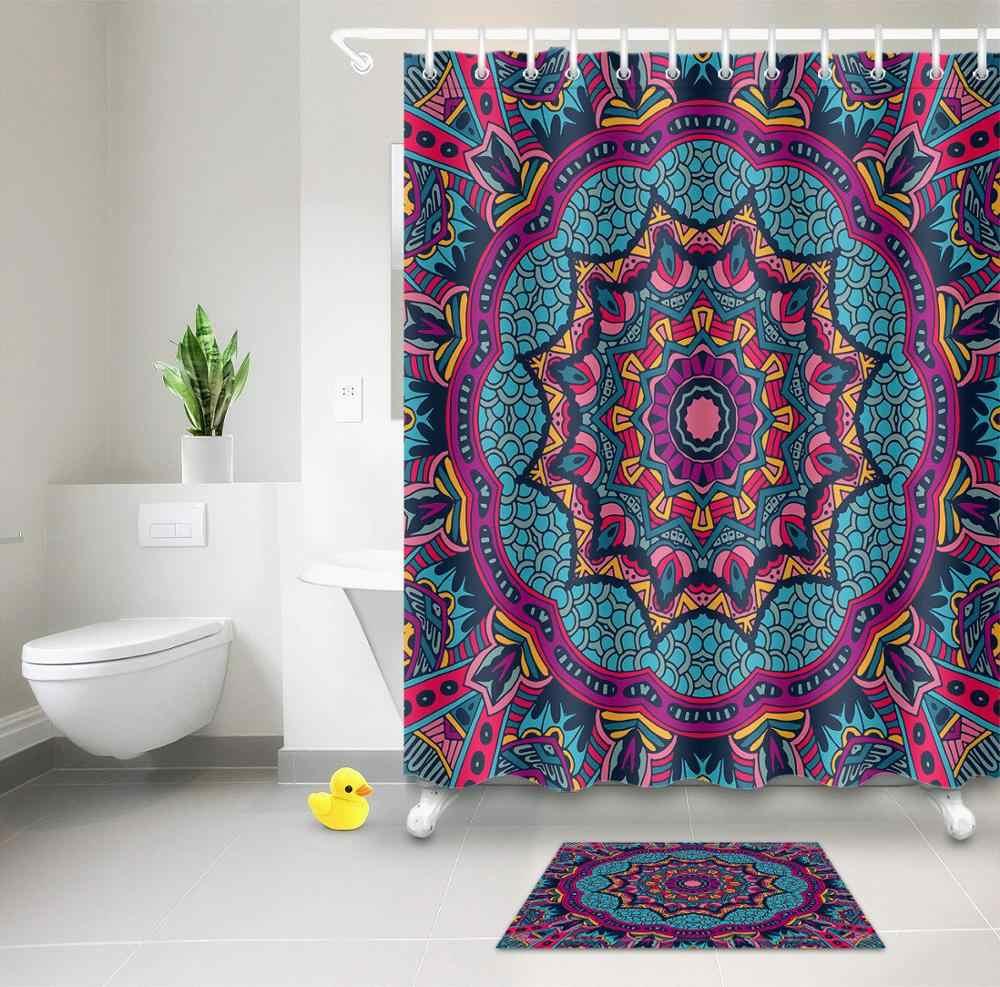mandala flower shower curtains bohemian style vintage blue purple waterproof fabric bath curtain sets bathroom decor with hooks