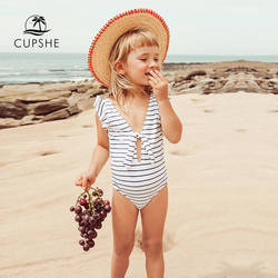 CUPSHE Stripe Knotted Backless One-piece Swimsuit Toddler Girls And Girls Kids Swimsuit 2020 Children Bathing Suits 2-12 Years