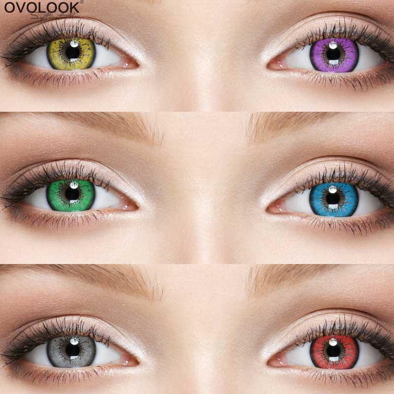OVOLOOK-1 пара линзы для косплея Цвет ed линзы для глаз 6 тон контактные линзы для глаз Цвет объектив ежегодно Применение 24 градуса для близорукос...