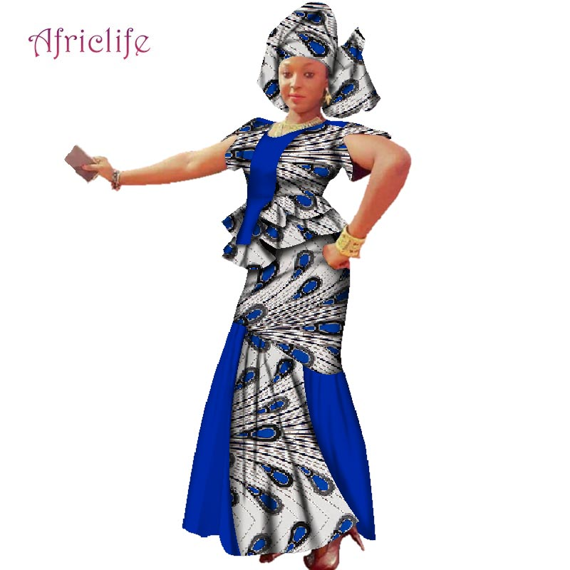 WY2431 2020 New African Wax Print Patchwork Clothes For Women Dashiki Traditional Cotton Top Skirt Set Of 3 Piece Dashiki Dress