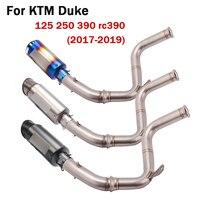 For KTM Duke 125 250 390 RC390 2017 2018 2019 Slip On Motorcycle Exhaust System Muffler Tips Middle Tube + Delete Cat Link Pipe