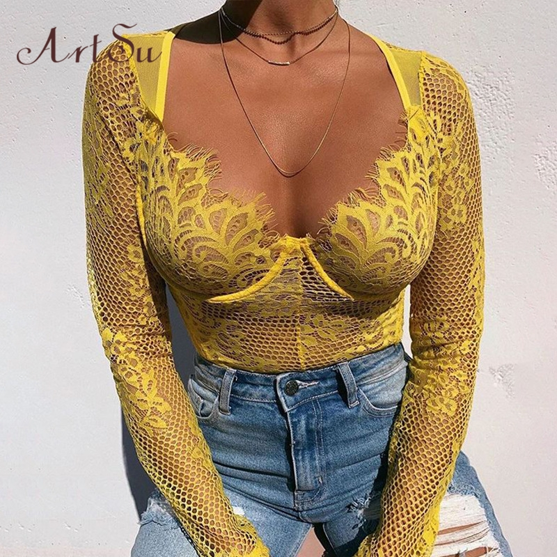 ArtSu 2019 Mesh Lace Transparent Bodysuit Long Sleeve Straps Sexy Teddy Catsuit One Piece Autumn Bodysuits New ASJU60608