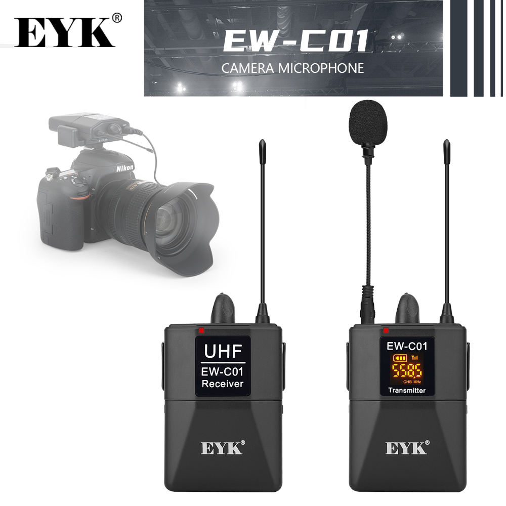 EYK 30 Channels DSLR Camera Phone UHF Wireless Dual Lavalier Microphone System up to 60m for Youtube Video Recording Interview