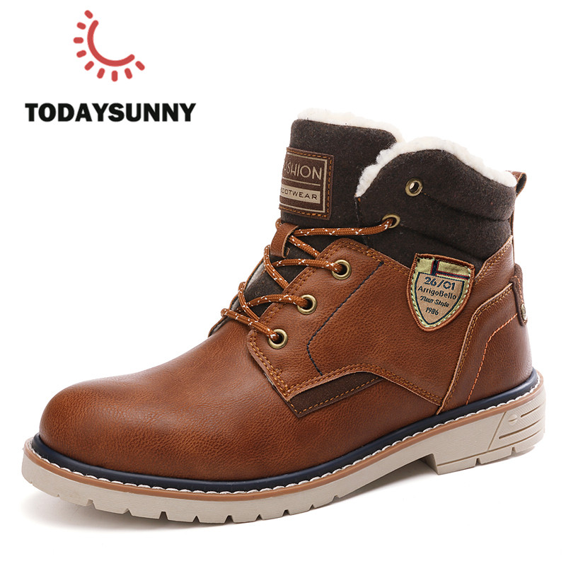 Winter Boots Men Genuine Leather Ankle Boots Martens Warm Plush Snow Boots Men Outdoor Safety Work Boots Chaussure Homme 39-45
