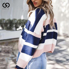 Thick Korean Style Women Sweater Rainbow Pullover Womens Knitted Short Sweaters