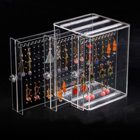 Acrylic Storage Box Earrings Transparent Stud Necklace Jewelry Display Stand
