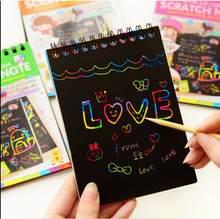 Caderno 4 cores scratch note pad preto papelão desenho esboço notas para crianças caderno brinquedo material escolar notebooks livro