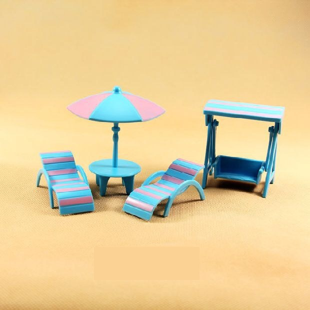 Happy Family Figures Dolls Beach Set Mini Furniture Miniature Dollhouse Pretend Toy Gift