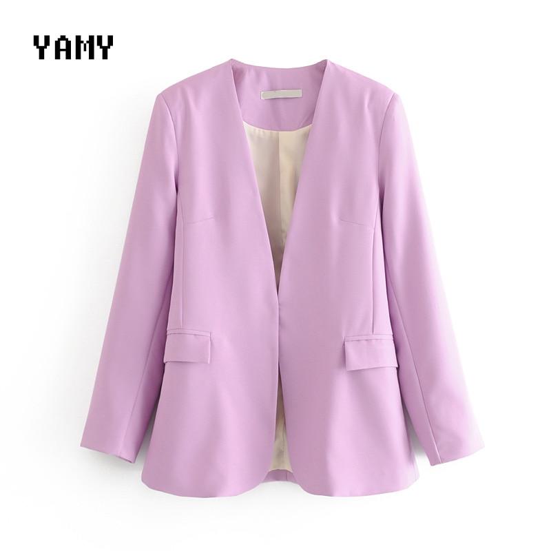 New Lilac Womens Casual Blazer Long Sleeve Office Lady Zoravicky Solid Suit Blazer Jacket Coat Lavender Basic Suit Blazer Summer