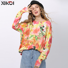 XIKOI Fashion Pink Flowers Print Sweater For Women