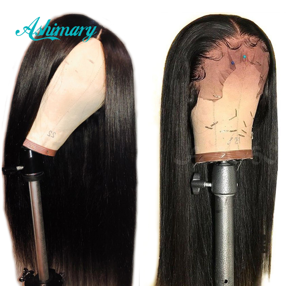 Ashimary Wigs Human-Hair-Wigs Lace-Frontal Straight-Hair 13x6 Brazilian Pre-Plucked Remy