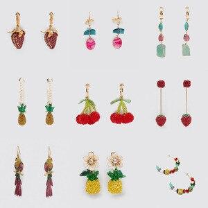 Miwens 2020 Za серьги с фруктами женские разноцветные Кристальные висячие серьги с вишней и клубникой специальные Животные украшения птицы