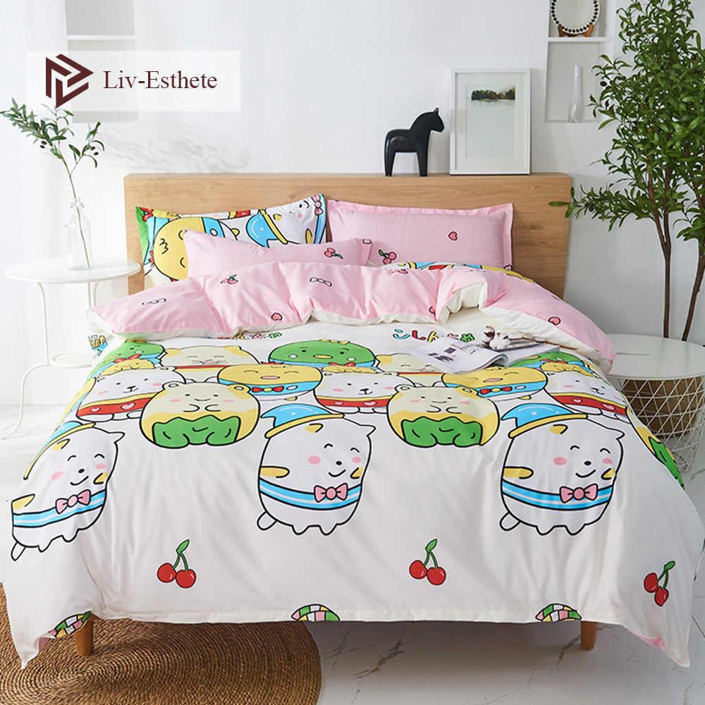 Liv-esthete Love White Bear Cartoon powłoczki niebieska kołdra narzuta narzuta podwójna królowa łóżko king-size pościel dla dorosłych dzieci