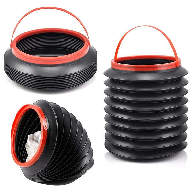 ZHANCHEN Car Rubbish Bin Waterproof Foldable with Lid Portable Fishing Bucket Travel Multifunctional Telescopic Bucket 4L