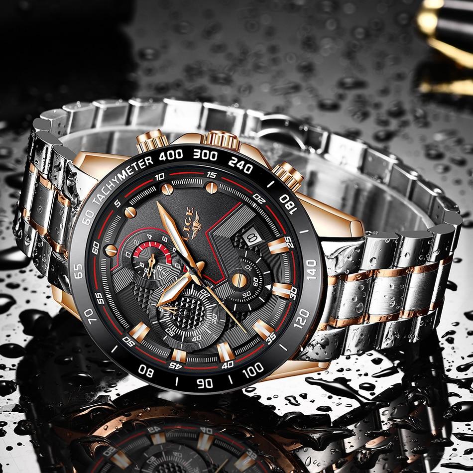 H8c580ba60a2c45008cd70b6fc2a4c53cq LIGE Men Watches Top Brand Luxury Stainless Steel Blue Waterproof Quartz Watch Men Fashion Chronograph Male Sport Military Watch