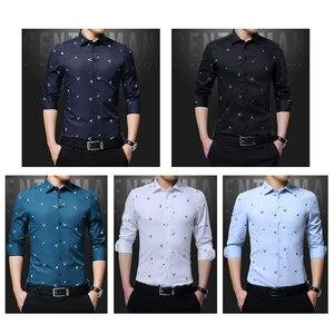 Image 2 - BROWON 2020 новые мужские рубашки с принтом Argyle жаккардовая деловая рубашка для мужчин с длинным рукавом, обычная посадка, нежелезный корейский стиль