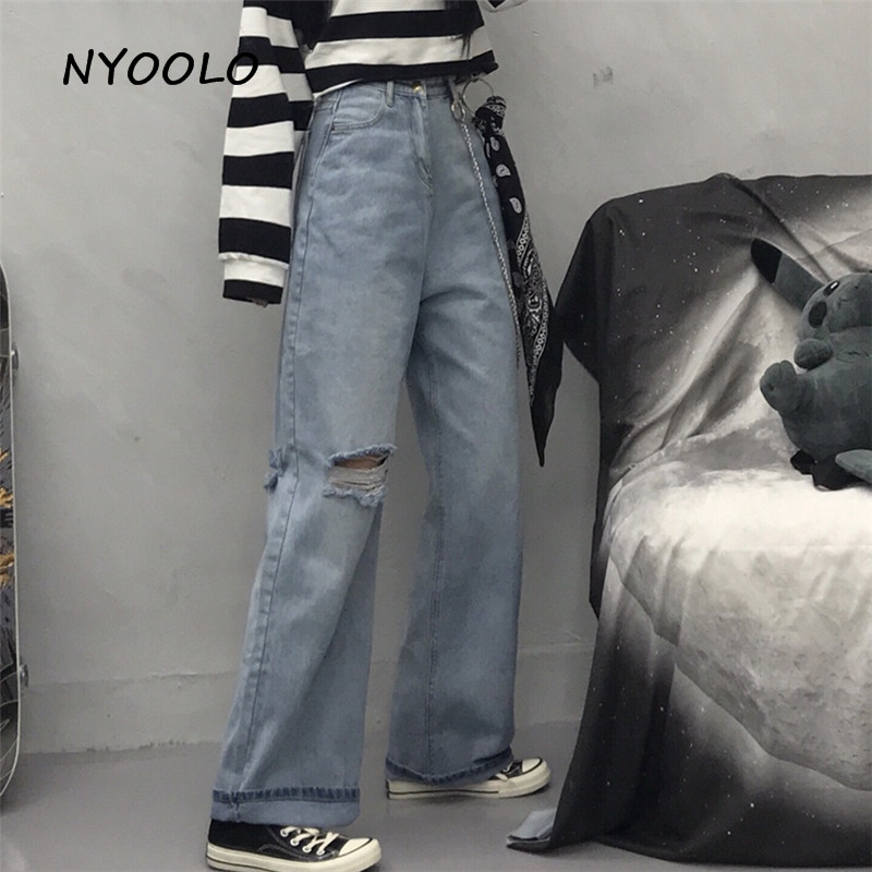 NYOOLO Vintage High Waist Destroyed Hole Washed Jeans Autumn Streetwear Loose Cotton Full Length Wide Leg Denim Pants Women