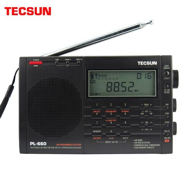 Tecsun PL 660 Airband רדיו רגישות גבוהה מקלט FM/MW/SW/LW דיגיטלי כוונון סטריאו עם קול חזק ורחב קבלת טווח