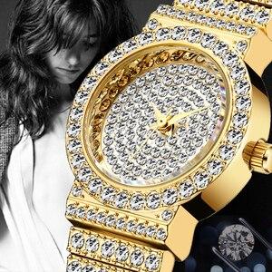 Image 5 - MISSFOX маленькие женские часы s, уникальные товары, роскошные брендовые часы с бриллиантами, женские водонепроницаемые аналоговые 18K золотые классические часы со льдом