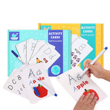 Kids Educational Toy Rewritable Early Learning Recognize Uppercase Small Letters Cards Children Education Toys Alphabet Puzzle