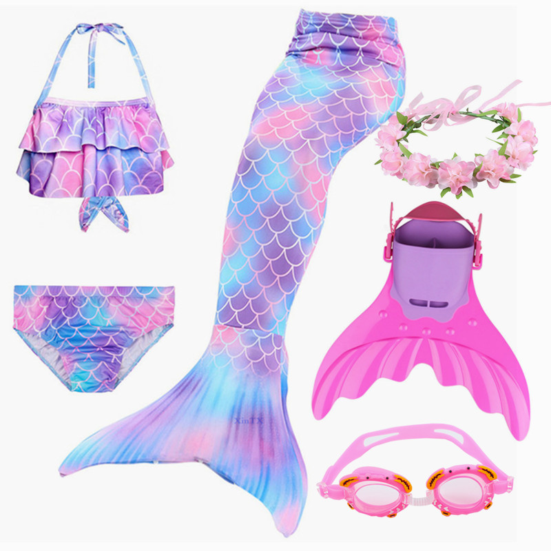Kids Mermaid Swimsuit Bikini With Flipper Monofin Costume Cosplay Little Children Mermaid Swimsuit Clothing Swimwear