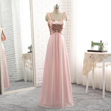 SINGLE ELEMENT Custom Color Size Long Chiffon Sequin Pleated Bridesmaid Dresses 2019 Wedding Party