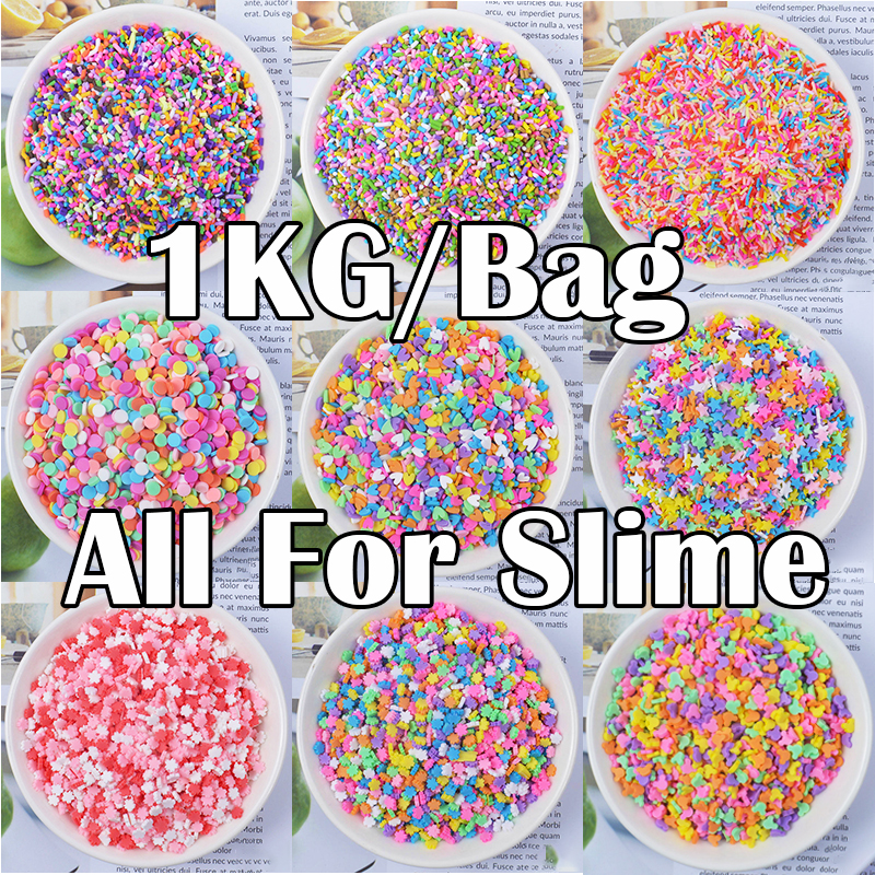 1KG Addition Sprinkles For Slime Charms Filler For Fluffy Mud Toys Slime Supplies Accessories Clay DIY Beads Wholesale