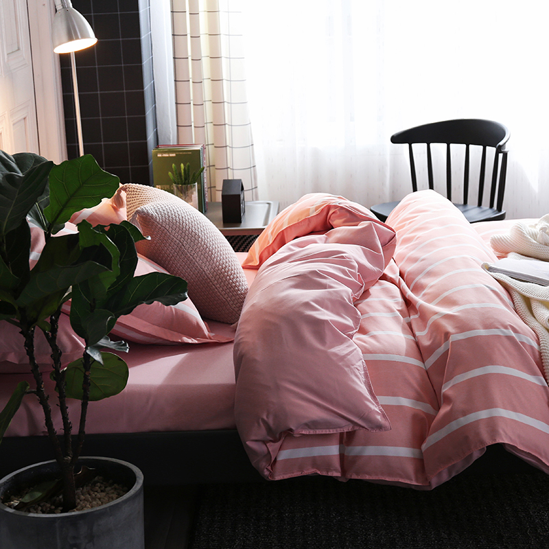 Liv Esthete Fashion Pink Stripe Bedding Set Soft Printed Duvet Cover Pillowcase Double Queen King Bed Linen Bedspread Flat Sheet in Bedding Sets from Home Garden