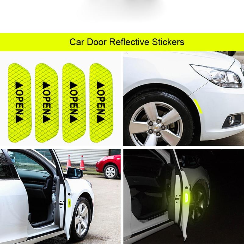 4pc Car Door Open Sticker Tape Safety Warning Reflective Auto Decal Door Sticker