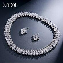 ZAKOL элегантный топ качество круглый кубический цирконий Кластер ожерелье серьги набор украшений для женщин аксессуары FSSP058