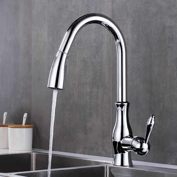 Black Pull Out Kitchen Sink Faucet Single Handle Chrome Taps Kitchen Tap 360 Swivel Water Mixer Tap Single Hole Water Mixer Taps