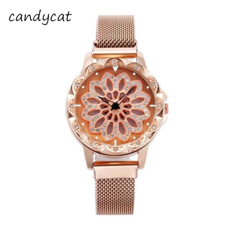 Candycat Ladies Watches TikTok Hot Magnetic Ferrous Bands Ladies Watches Fashion Quartz Creative Student Diamond Watch Clock