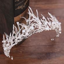 Trendy Wedding Crown Silver Color Pearl Rhinestone Crystal Bridal Tiara Crown Hair Accessories Queen Diadem Wedding Hair Jewelry luxury classic cz cubic zirconia wedding bridal tiara crown diadem women hair jewelry accessories s17802