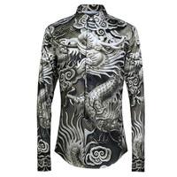 Fashion Chinese Dragon Print Cotton Shirt Men Camisas Hombre 2019 Luxury Brand Mens Dress Shirts Business Wedding Tuxedo Shirt