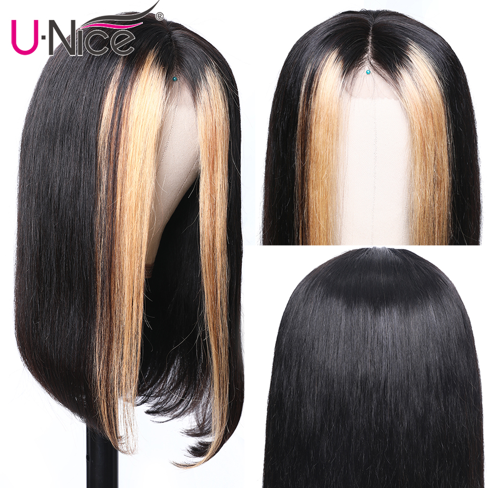 """Image 2 - Unice Hair 13x4 Highlight Lace Front Human Hair Wigs 8 24"""" Brazilian straight Hair Wigs Remy Human Hair Wigs Half Up Half Down-in Lace Front Wigs from Hair Extensions & Wigs"""