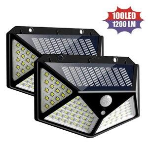 4 шт. четырехсторонняя Солнечная энергия 100 светодиодный светильник садовый ярд светильник s полярная мощность настенный светильник датчик ...