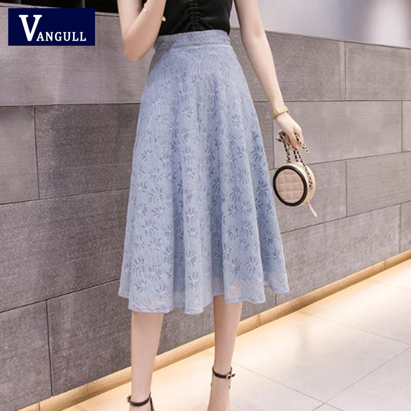 Vangull Knee-length Lace Skirt Women New Spring Summer Solid High Waist Plus Size Umbrella Skirt Slim Fashion Office Lady Skirt