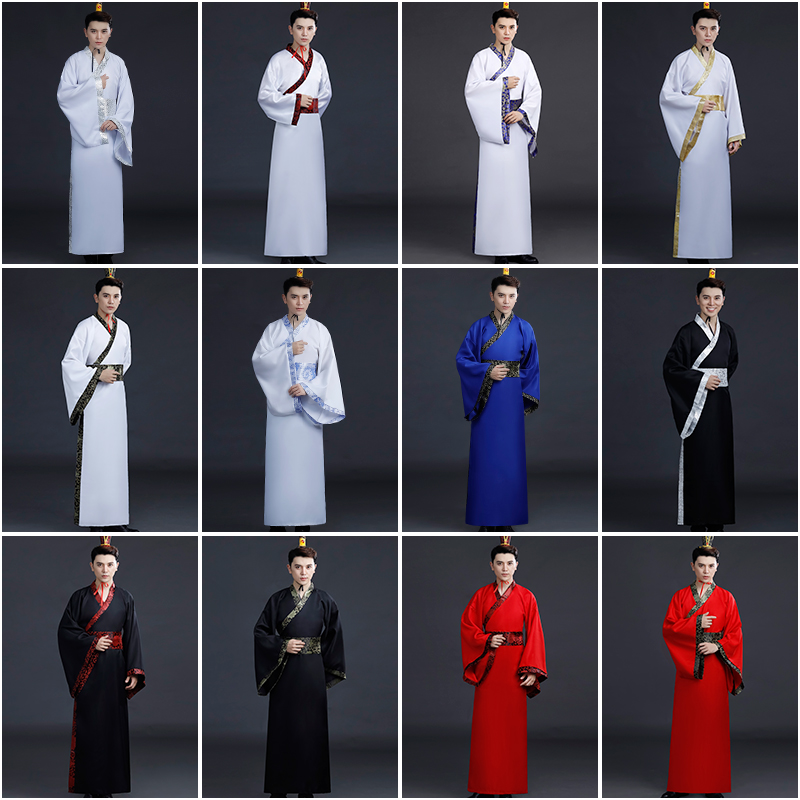 Chinese National Hanfu Black Ancient China Ancient Han Dynasty Clothing Traditional Suit Stage Cosplay Costumes Hanfu Men
