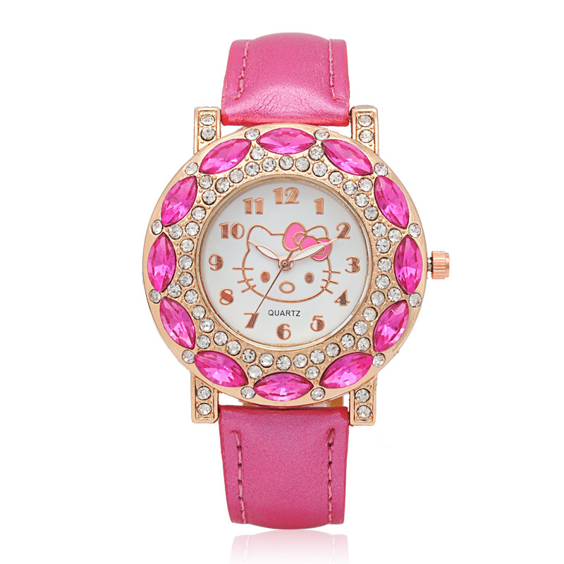 Hello Kitty Kids Watches Children Cute Hello Kitty Leather Quartz Wrist Watches For Girls Clock