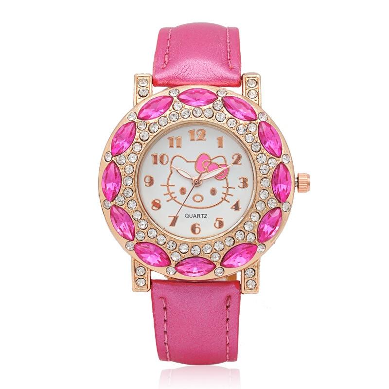 Hello Kitty Kids Watches Children Cute Hello Kitty Leather Quartz Wrist Watches For Girls Clock