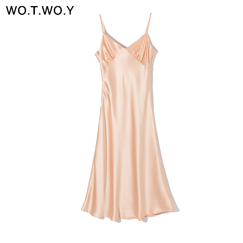 H8c59290bb44e4362868dd7513bc3053b2 - WOTWOY Sexy V-neck Sleeveless Dresses Women Spaghetti Strap Mid-Calf Sheath Party Dresses Femme Clothes Women Summer New