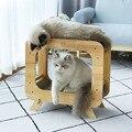 Gato de papel ondulado sofá cama gatos garras cuidados brinquedos casa do gato de madeira com scratcher placa gatinho dormir ninho moagem prego esteira