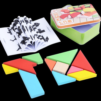 1 Box Wooden Jigsaw Tangram Toy Creative Educational Playthings Interesting Puzzle T Word Large S