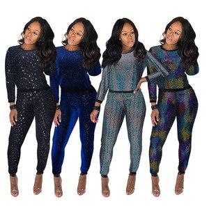Image 2 - 2 stück Set Afrikanischen Sets Für Frauen Neue Pailletten Afrikanische Elastische Bazin Baggy Hosen Rock Stil Dashiki Hülse Berühmte Anzug für Dame