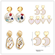 2019 New Earpiece Creative Retro Simple pearl earrings Sequins Acrylic Ear Nail For Women