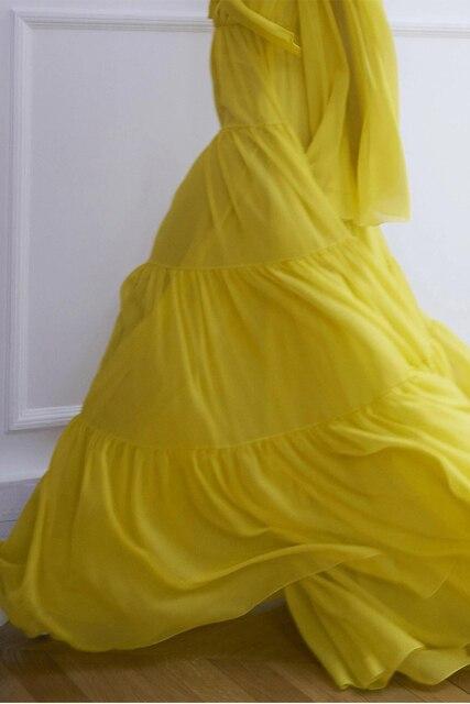 European Runway Dress 2020 Women Spring Elegant Ruffles Bow Long Sleeve Pleated Chiffon Long Dress Yellow
